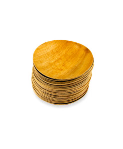 Pyöreä palmunlehtilautanen, halkaisija 18cm, pakkauksessa 25kpl.