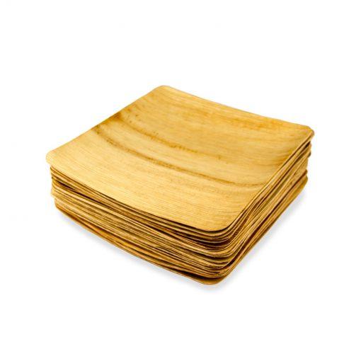 Biohajoava palmunlehtilautanen, neliö 22x22cm, 25kpl:n pakkaus.
